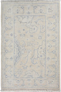 Muted Vegetable Dye Oushak Turkish Beige Area Rug 2x3