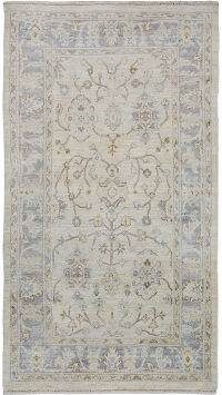 Floral Vegetable Dye Oushak Turkish Area Rug 4x7