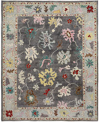 Floral Vegetable Dye Oushak Turkish Area Rug 9x12