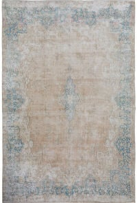 Antique Distressed Floral Kerman Persian Muted Area Rug 9x12