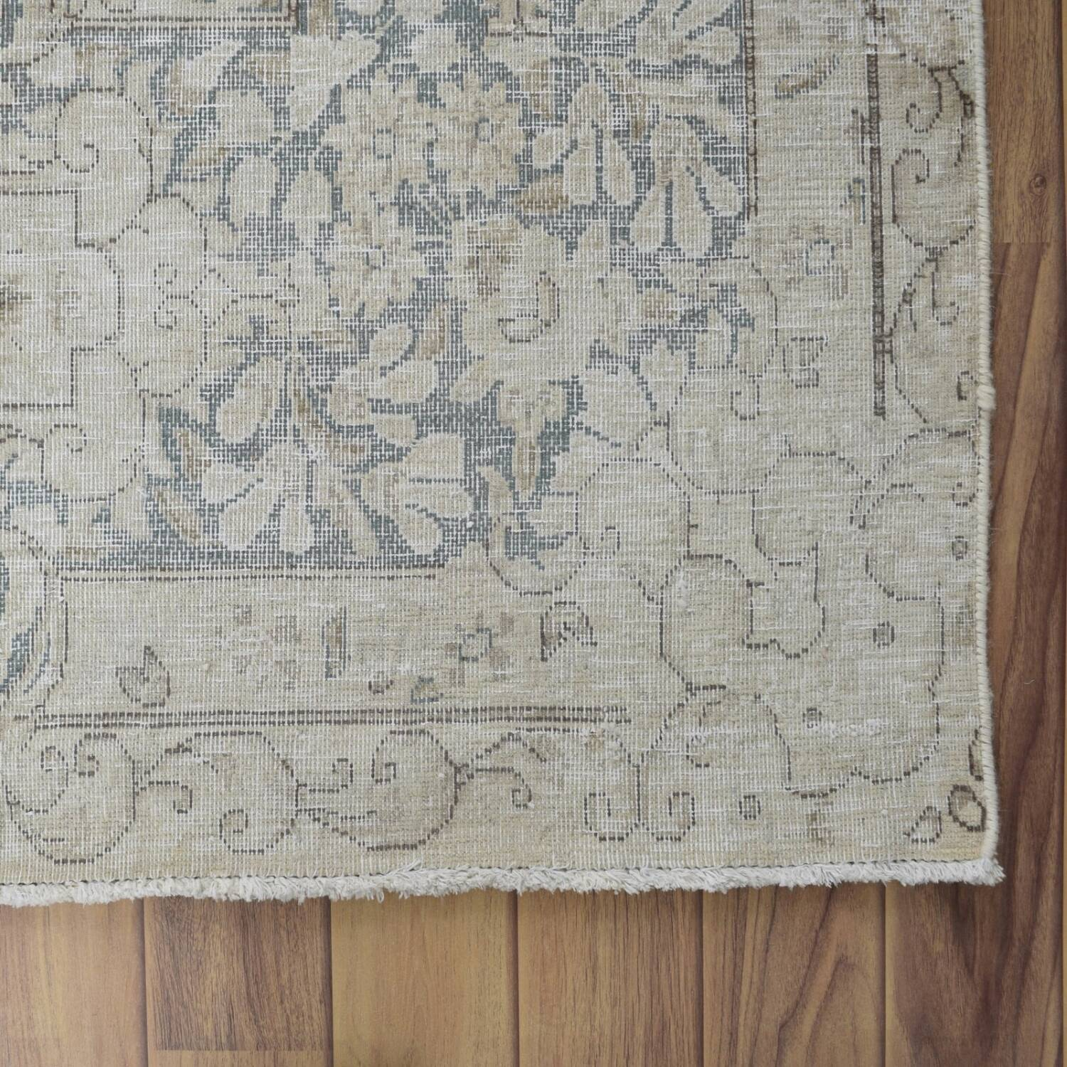 Antique Distressed Floral Kerman Persian Muted Area Rug 10x13 image 5