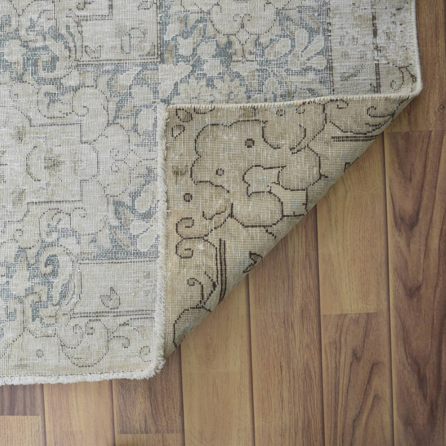 Antique Distressed Floral Kerman Persian Muted Area Rug 10x13 image 7