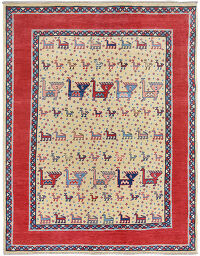 Animal Pictorial Super Kazak Oriental Area Rug 5x7
