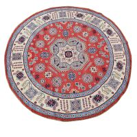 Geometric Medallion Super Kazak Area Rug 8x8 Round