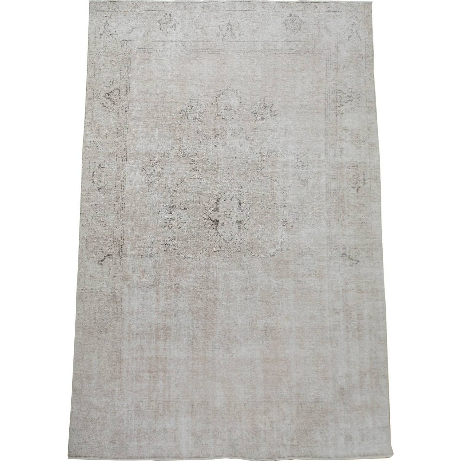 Antique Floral Muted Tabriz Persian Distressed Area Rug 9x12 image 2