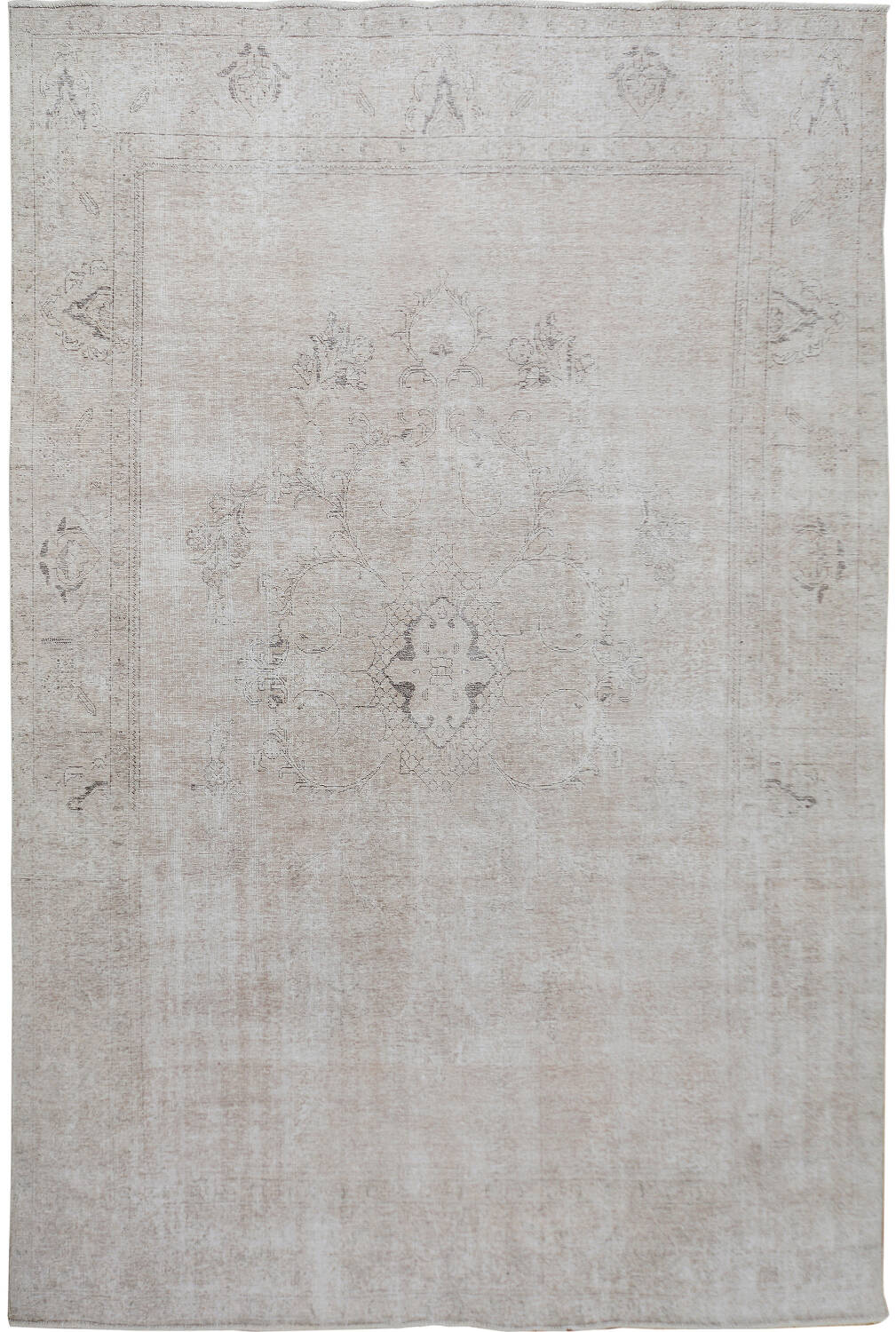 Antique Floral Muted Tabriz Persian Distressed Area Rug 9x12 image 1