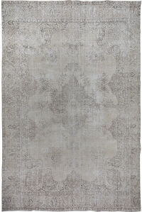 Antique Muted Floral Tabriz Persian Distressed Area Rug 9x13
