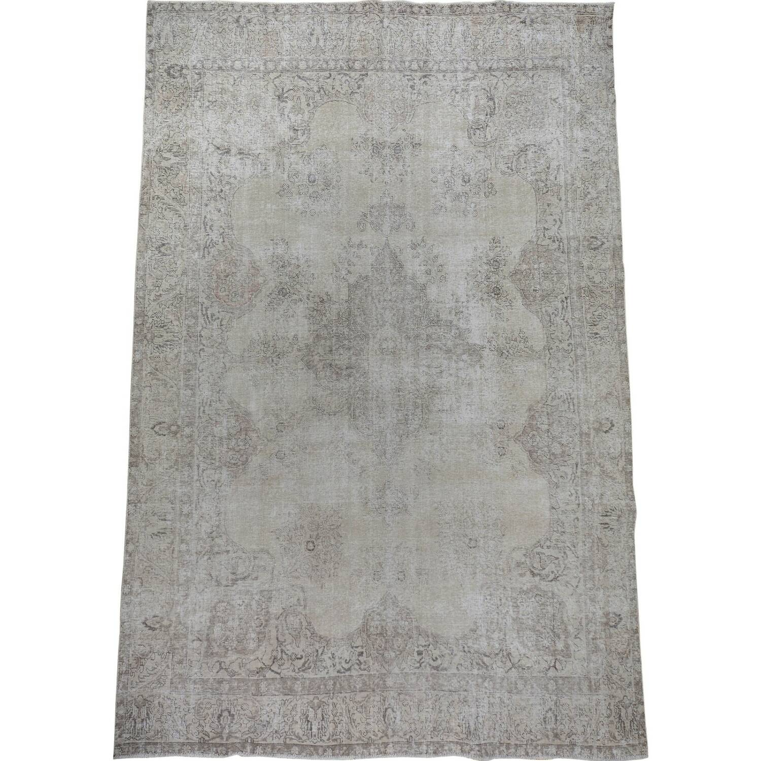 Antique Muted Floral Tabriz Persian Distressed Area Rug 9x13 image 2