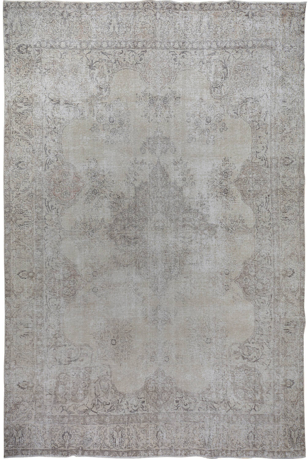 Antique Muted Floral Tabriz Persian Distressed Area Rug 9x13 image 1