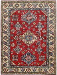 Geometric Red Super Kazak Oriental Area Rug 5x7
