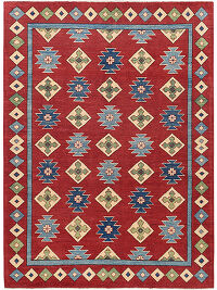 All-Over Geometric Super Kazak Oriental Red Area Rug 5x7