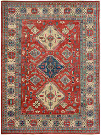 Geometric Super Kazak Tribal Oriental Area Rug 9x12