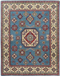 Blue Geometric Super Kazak Oriental Area Rug 8x10