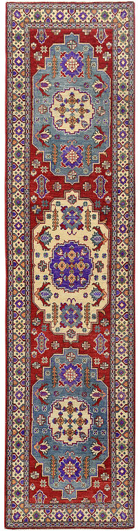 Geometric Super Kazak Oriental Red Runner Rug 3x10