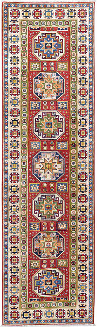 Geometric Super Kazak Runner Rug 3x10