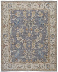 All-Over Floral Vegetable Dye Oushak Turkish Area Rug 8x10