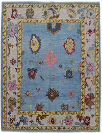Floral Vegetable Dye Oushak Turkish Area Rug 6x8