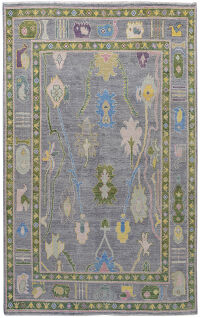 All-Over Floral Vegetable DyeOushak Turkish Area Rug 5x8