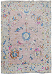 Pink Floral Oushak Vegetable Dye Turkish Area Rug 5x8