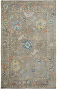 Large Floral Vegetable Dye Oushak Turkish Area Rug 10x14