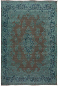 Large Over Dyed Floral Kerman Persian Area Rug 10x14