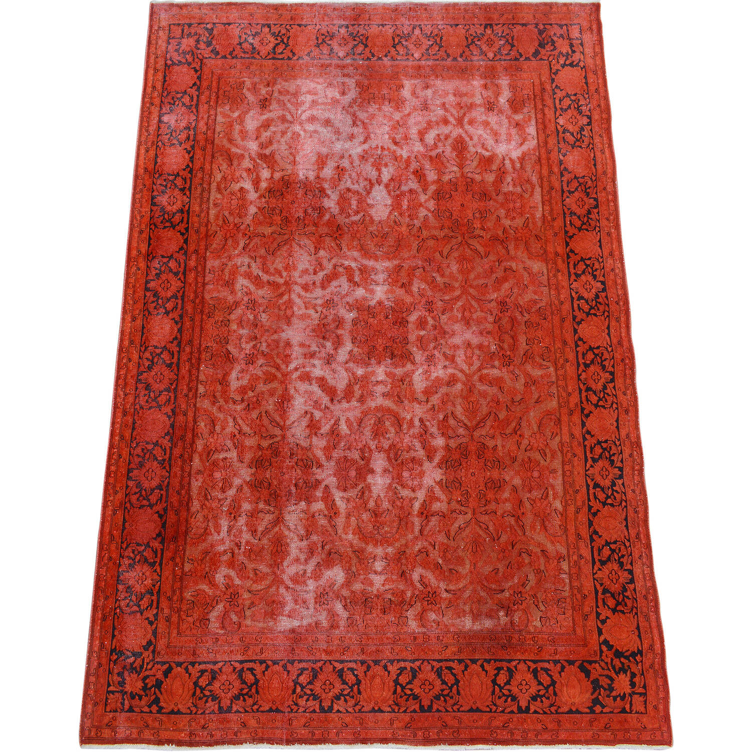 Antique Over Dyed Floral Kerman Persian Area Rug 7x9 image 2