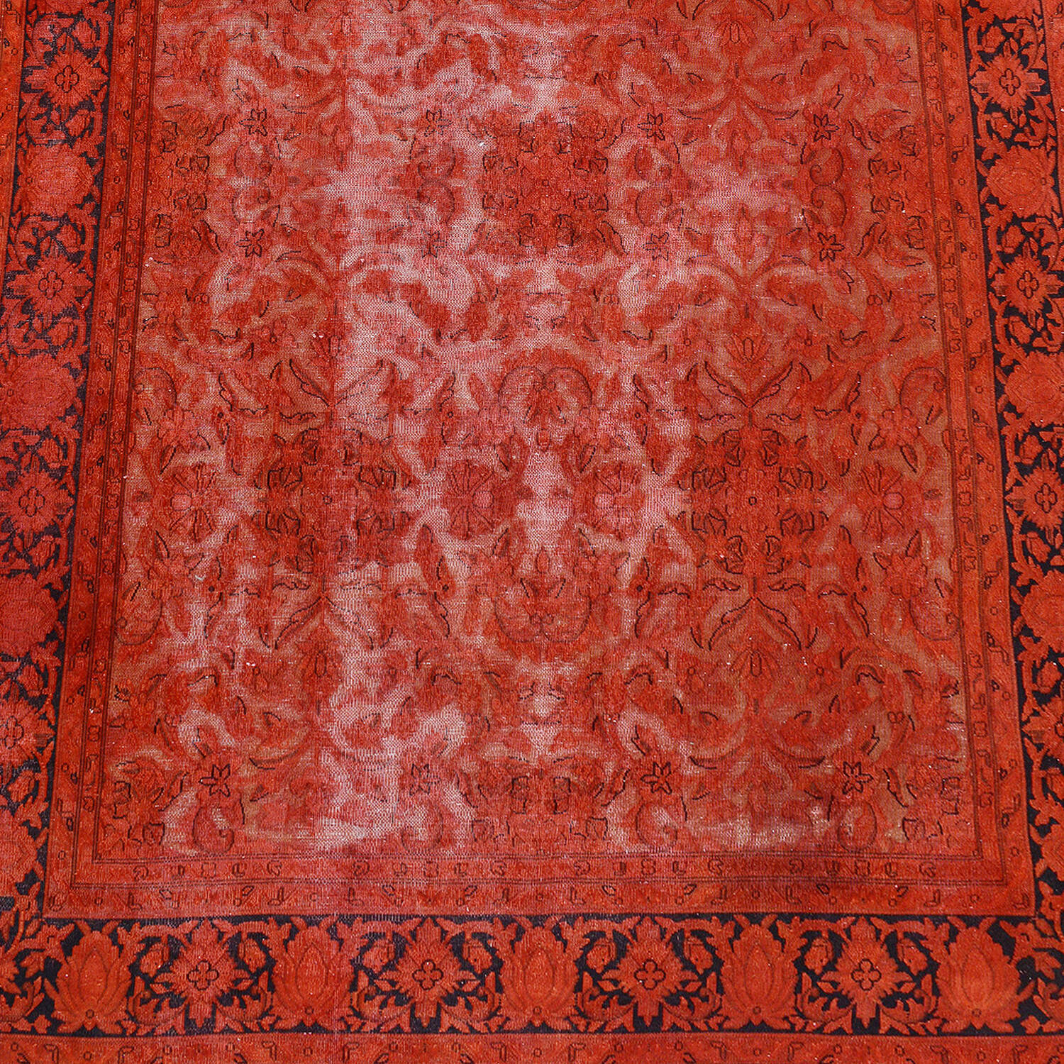 Antique Over Dyed Floral Kerman Persian Area Rug 7x9 image 3