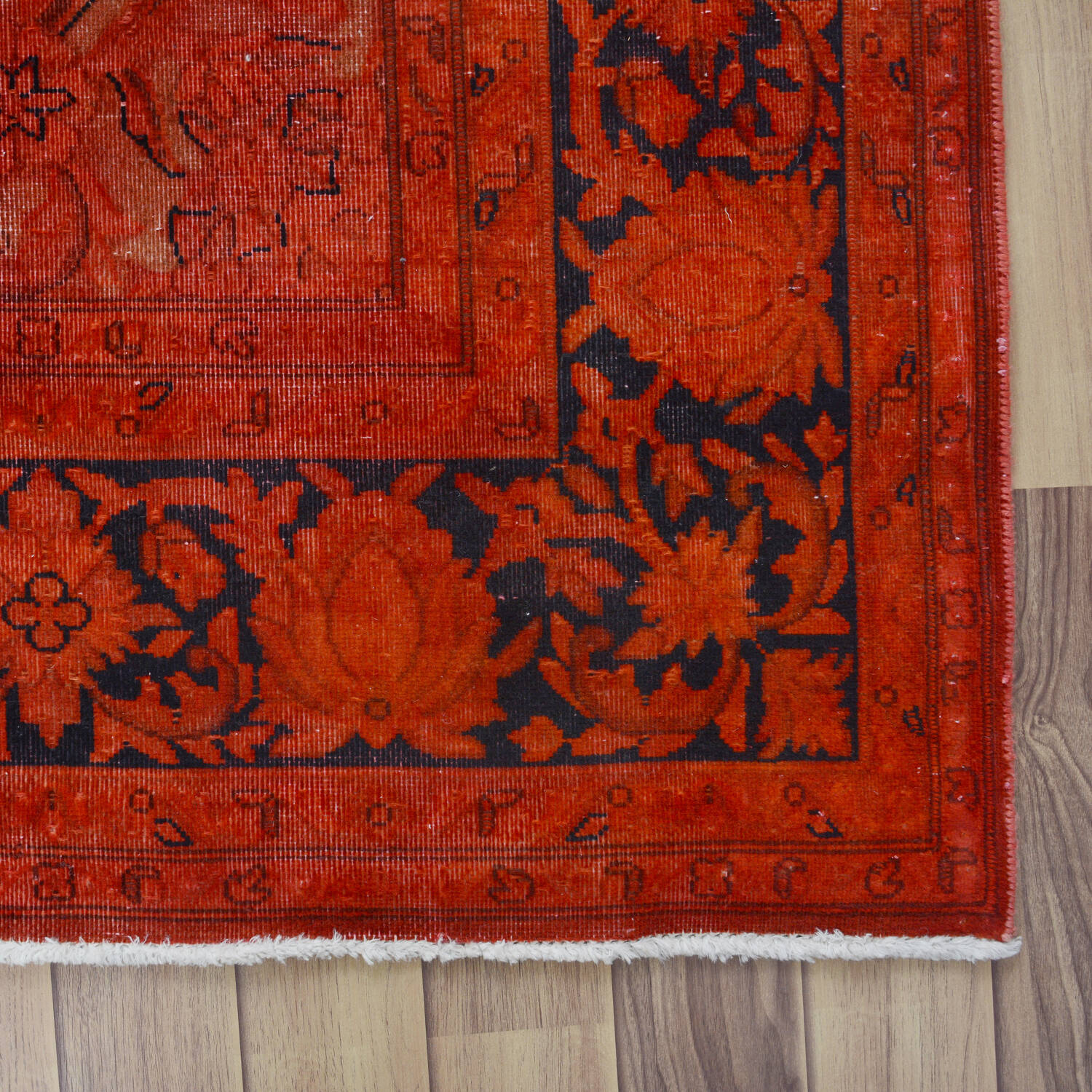 Antique Over Dyed Floral Kerman Persian Area Rug 7x9 image 5