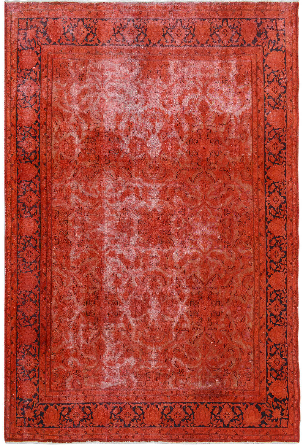 Antique Over Dyed Floral Kerman Persian Area Rug 7x9 image 1