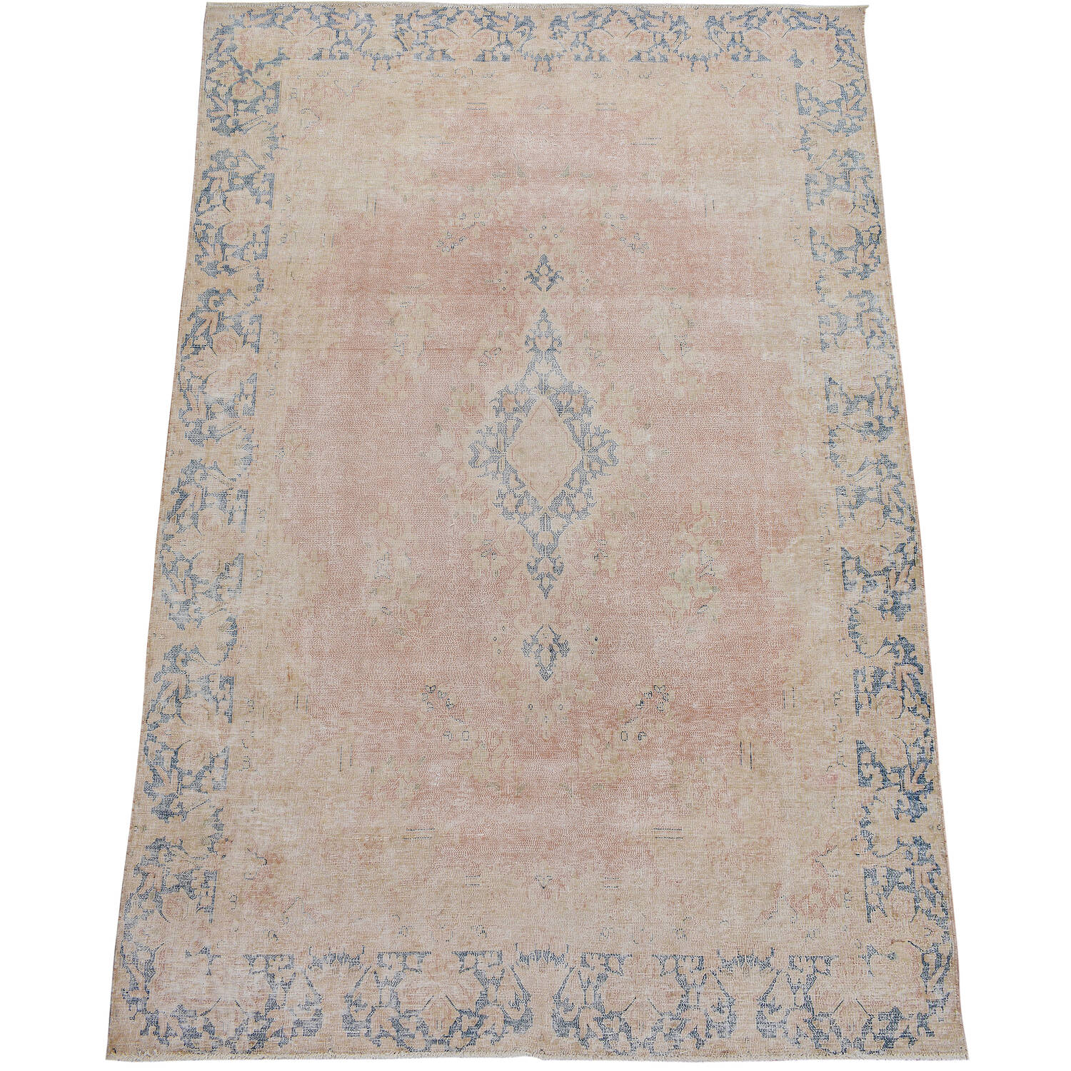 Antique Floral Muted Kerman Persian Area Rug 6x9 image 2