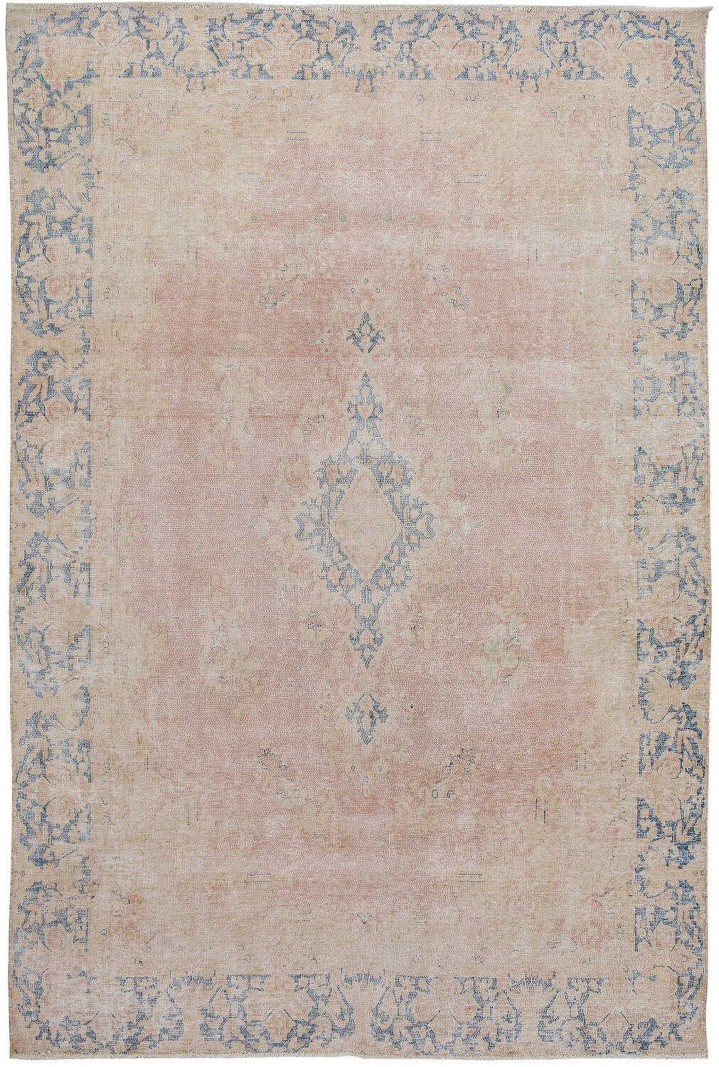 Antique Floral Muted Kerman Persian Area Rug 6x9 image 1