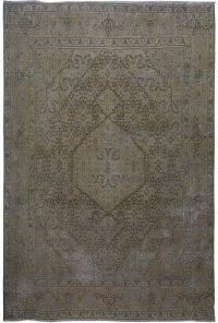 Antique Over Dyed Geometric Tabriz Persian Area Rug 9x12