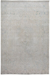 Muted Floral Tabriz Persian Distressed Area Rug 6x9