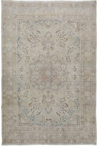 Muted Floral Tabriz Persian Area Rug 7x9