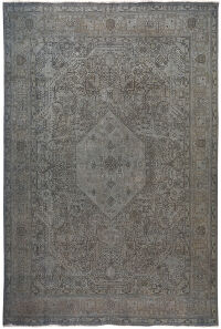 Antique Geometric Tabriz Persian Over Dyed Area Rug 10x13