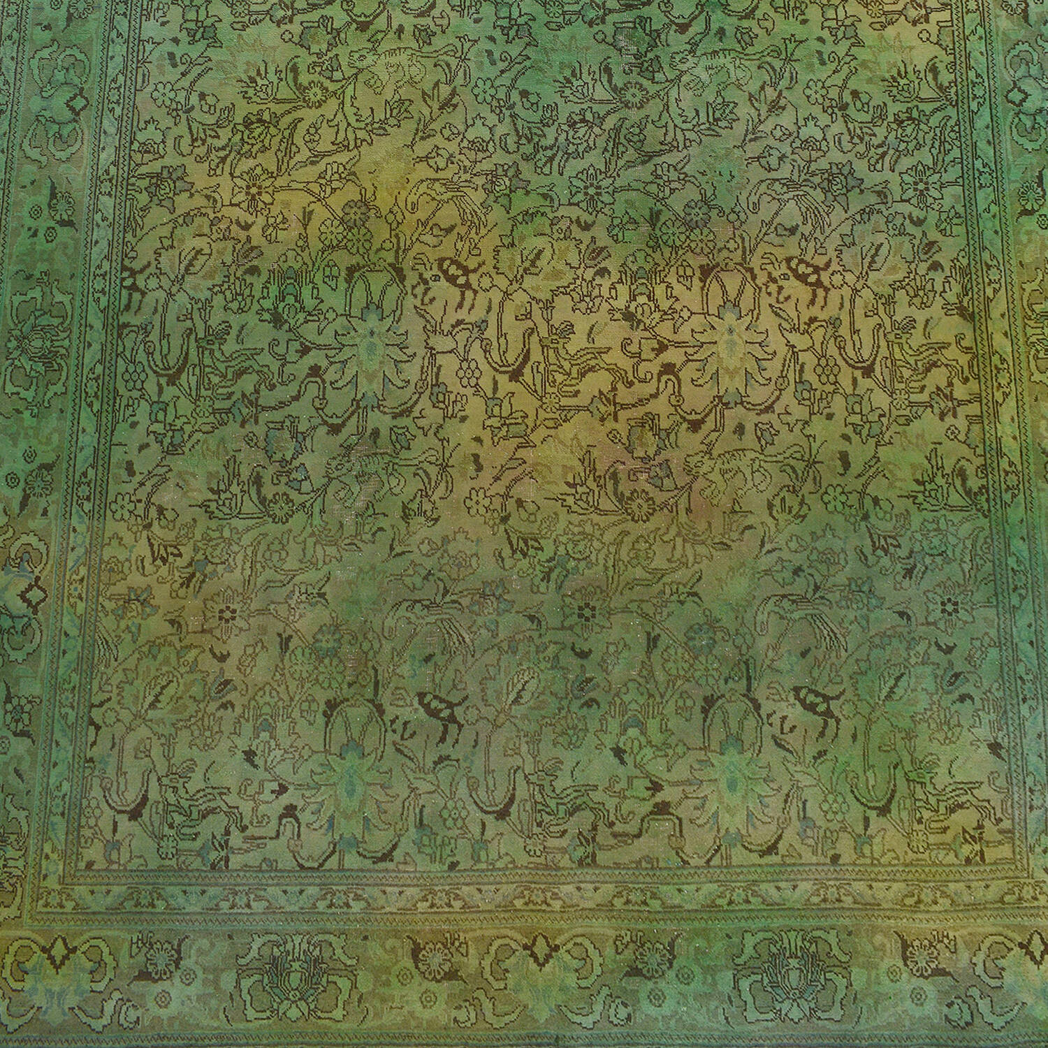 Antique Floral Tabriz Persian Over Dyed Area Rug 8x11 image 2
