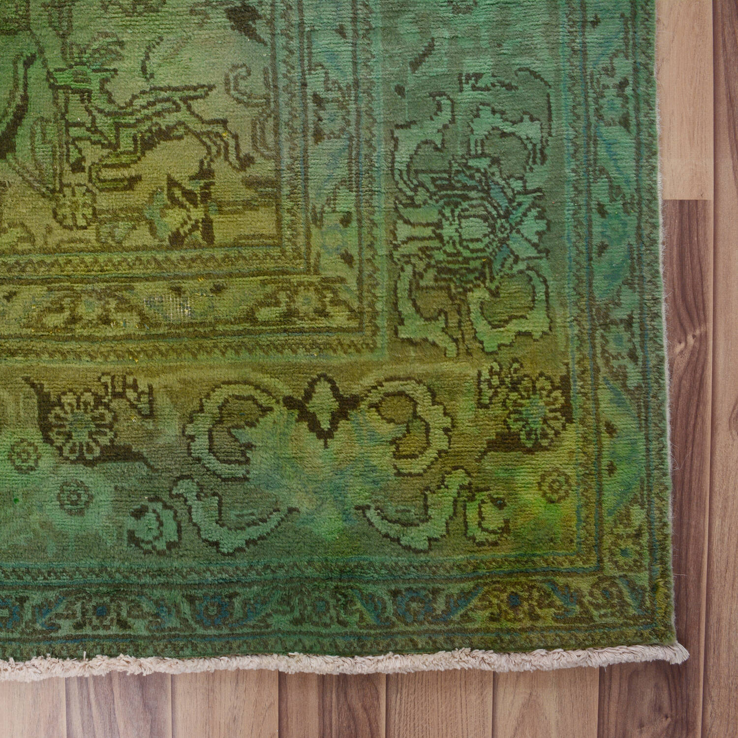 Antique Floral Tabriz Persian Over Dyed Area Rug 8x11 image 5
