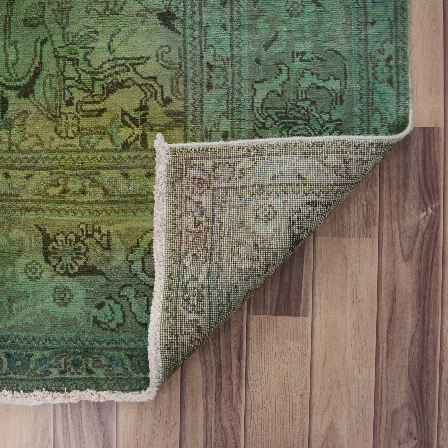 Antique Floral Tabriz Persian Over Dyed Area Rug 8x11 image 7