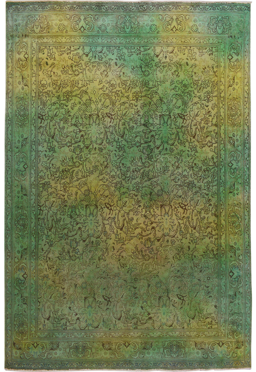 Antique Floral Tabriz Persian Over Dyed Area Rug 8x11 image 1