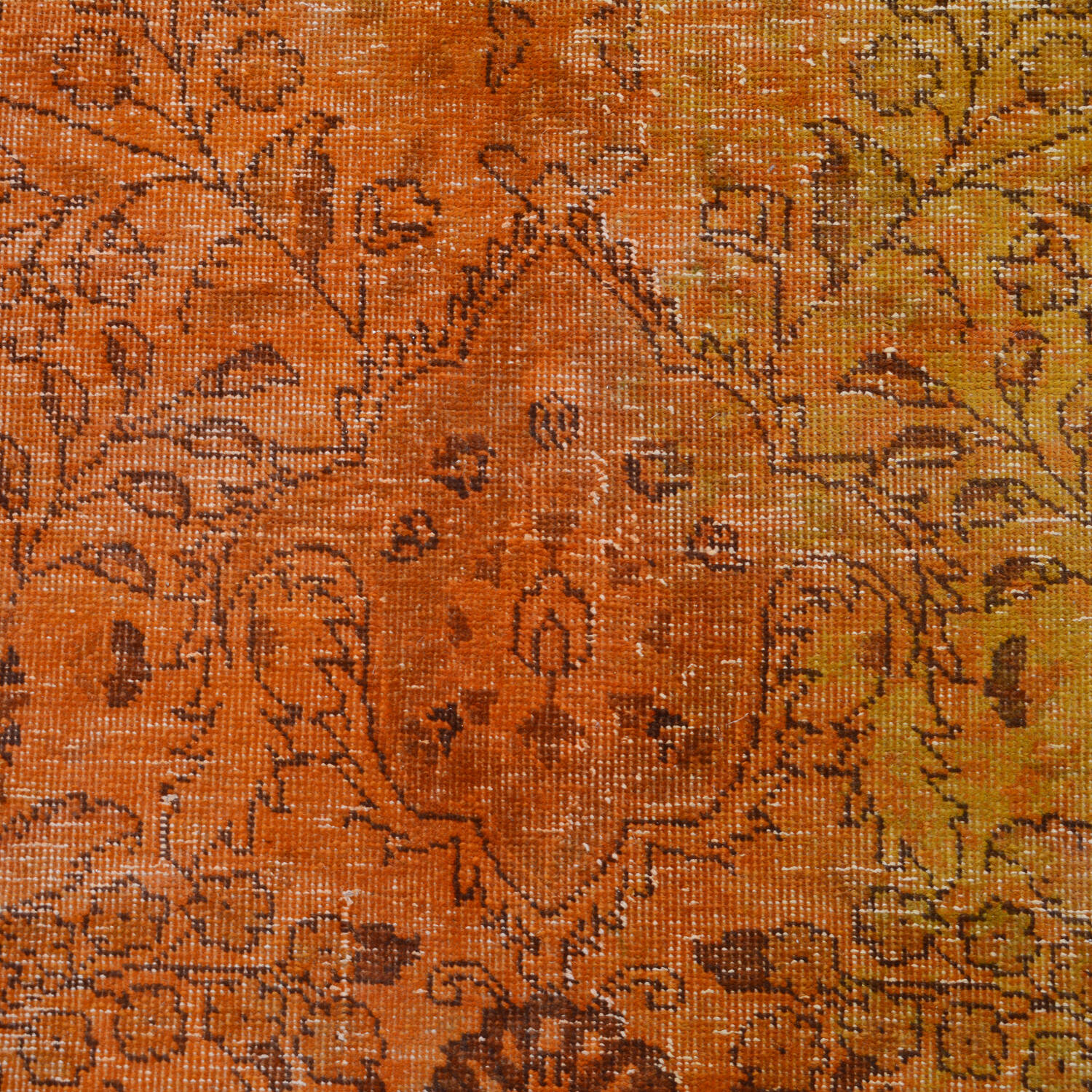 Antique Over Dyed Floral Tabriz Persian Area Rug 10x13 image 4