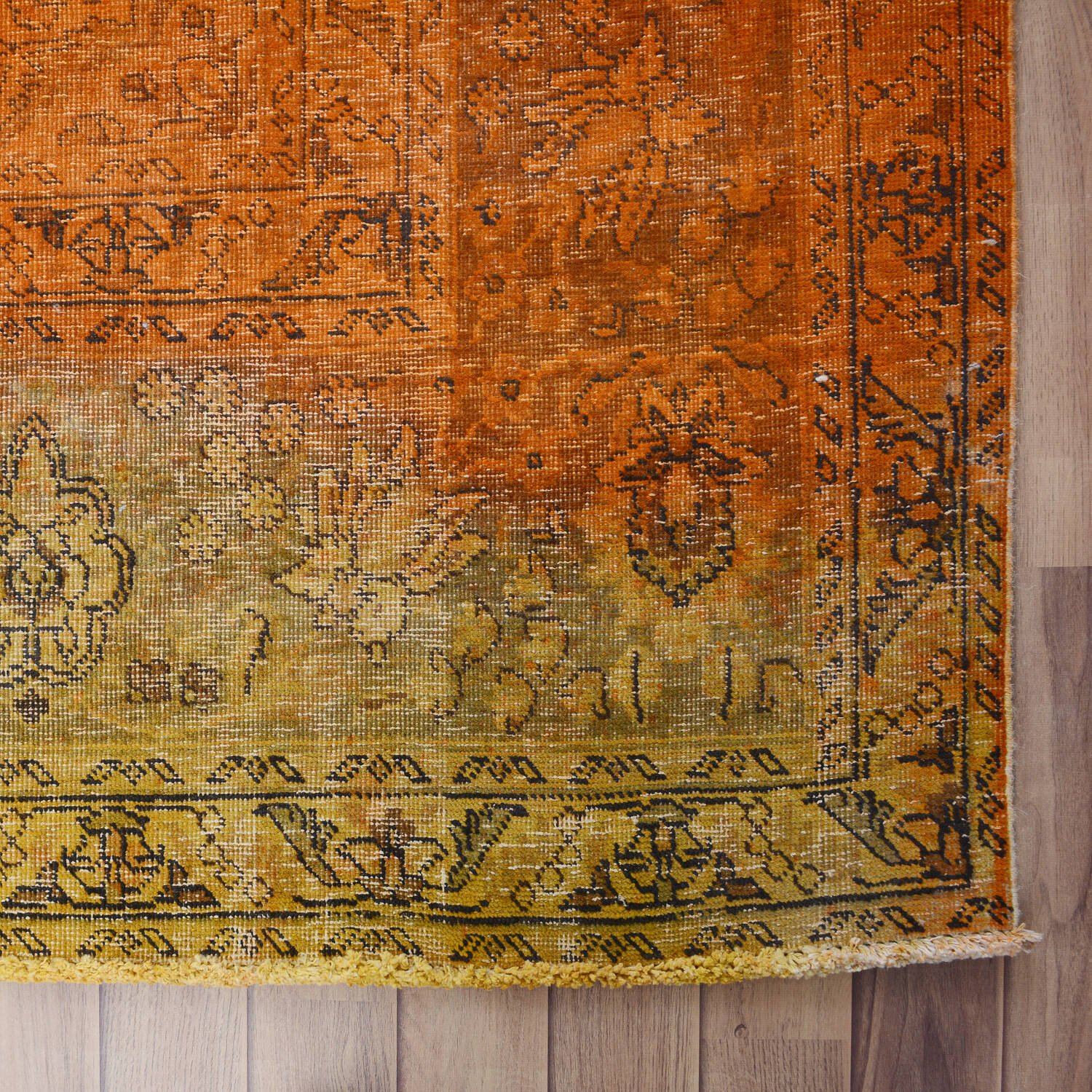 Antique Over Dyed Floral Tabriz Persian Area Rug 10x13 image 5