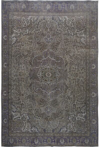Muted Antique Over Dyed Floral Tabriz Persian Area Rug 10x12