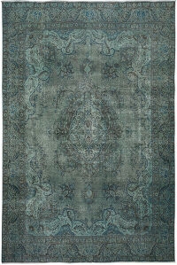 Muted Antique Over Dyed Floral Tabriz Persian Area Rug 9x12