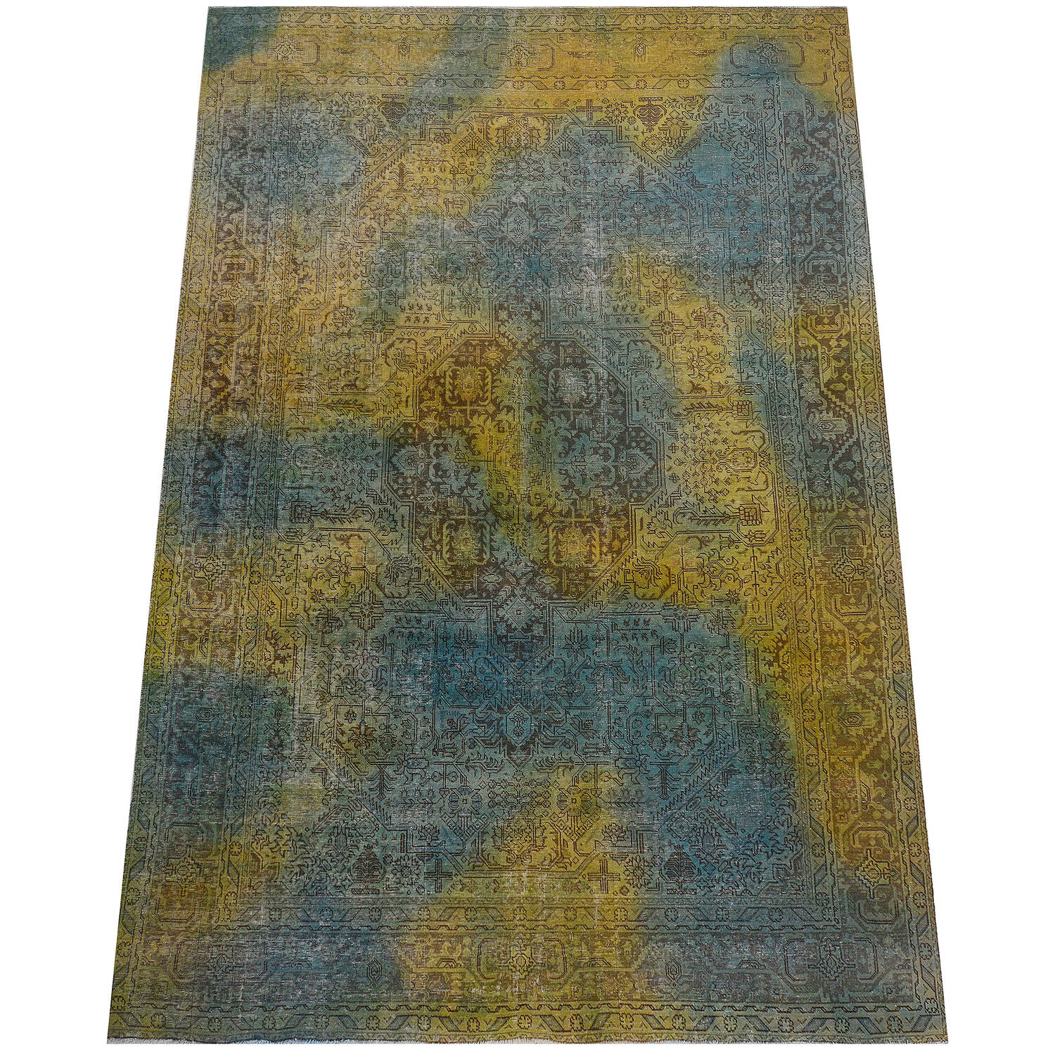 Antique Over Dyed Geometric Tabriz Persian Area Rug 10x13 image 2