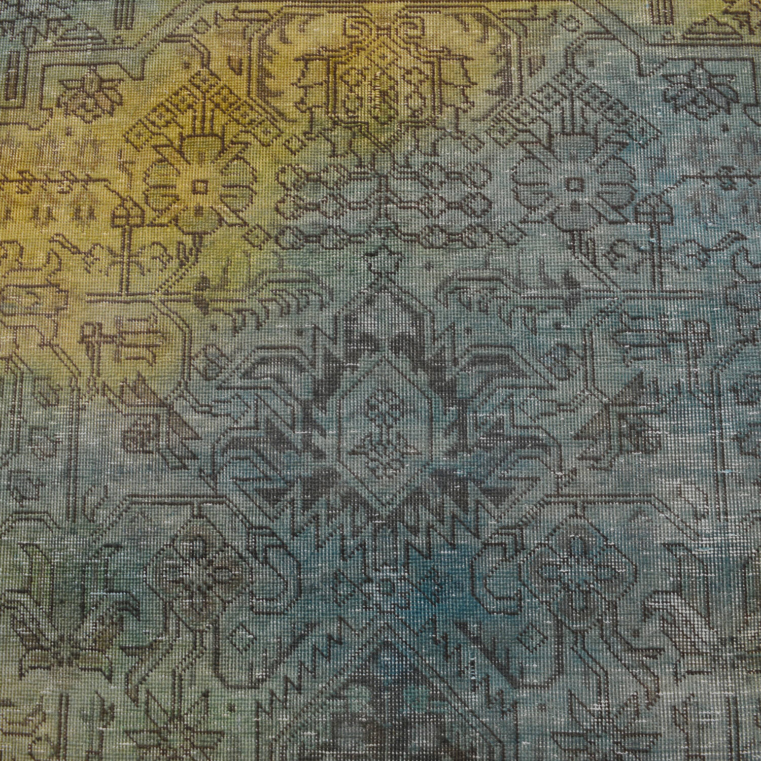 Antique Over Dyed Geometric Tabriz Persian Area Rug 10x13 image 4