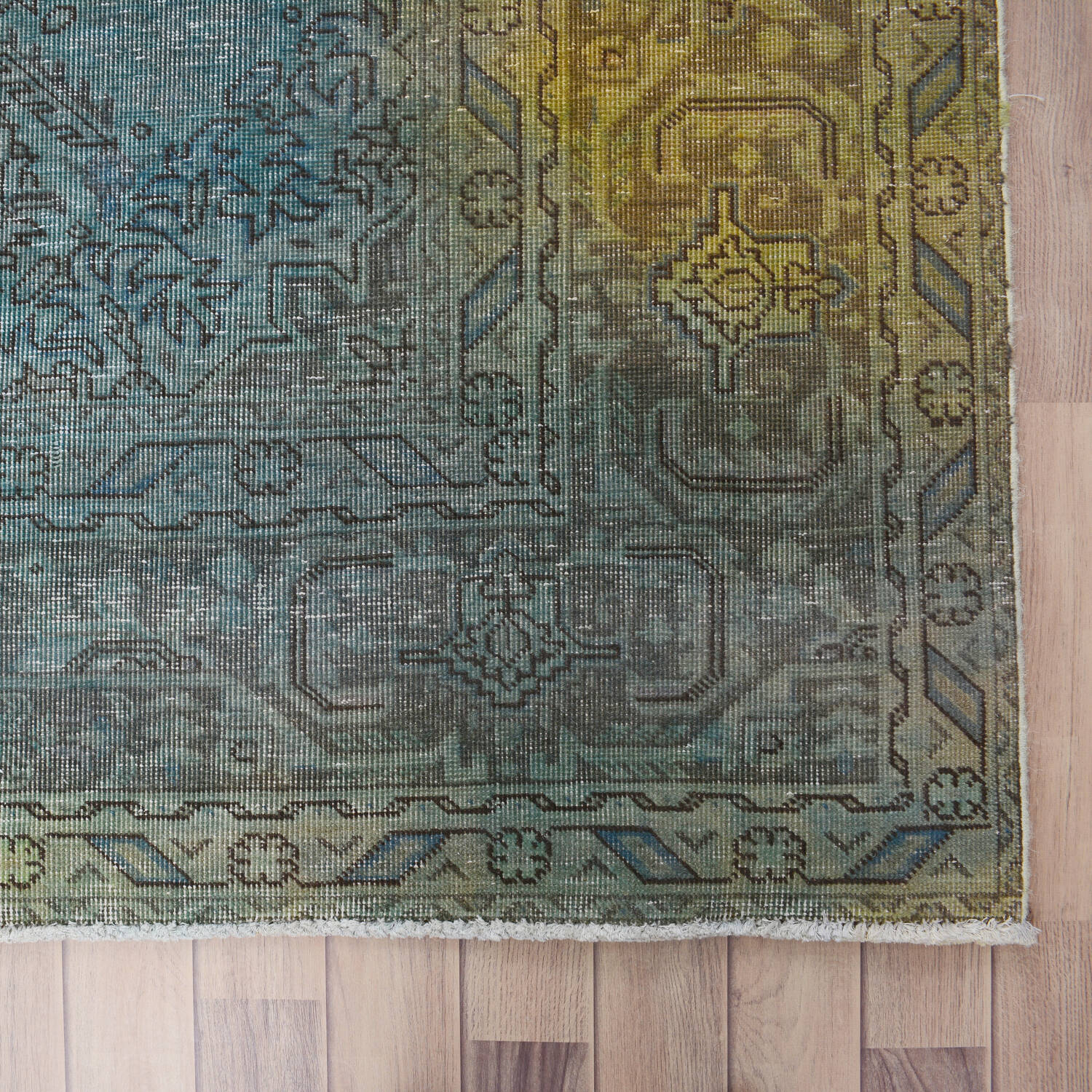 Antique Over Dyed Geometric Tabriz Persian Area Rug 10x13 image 5