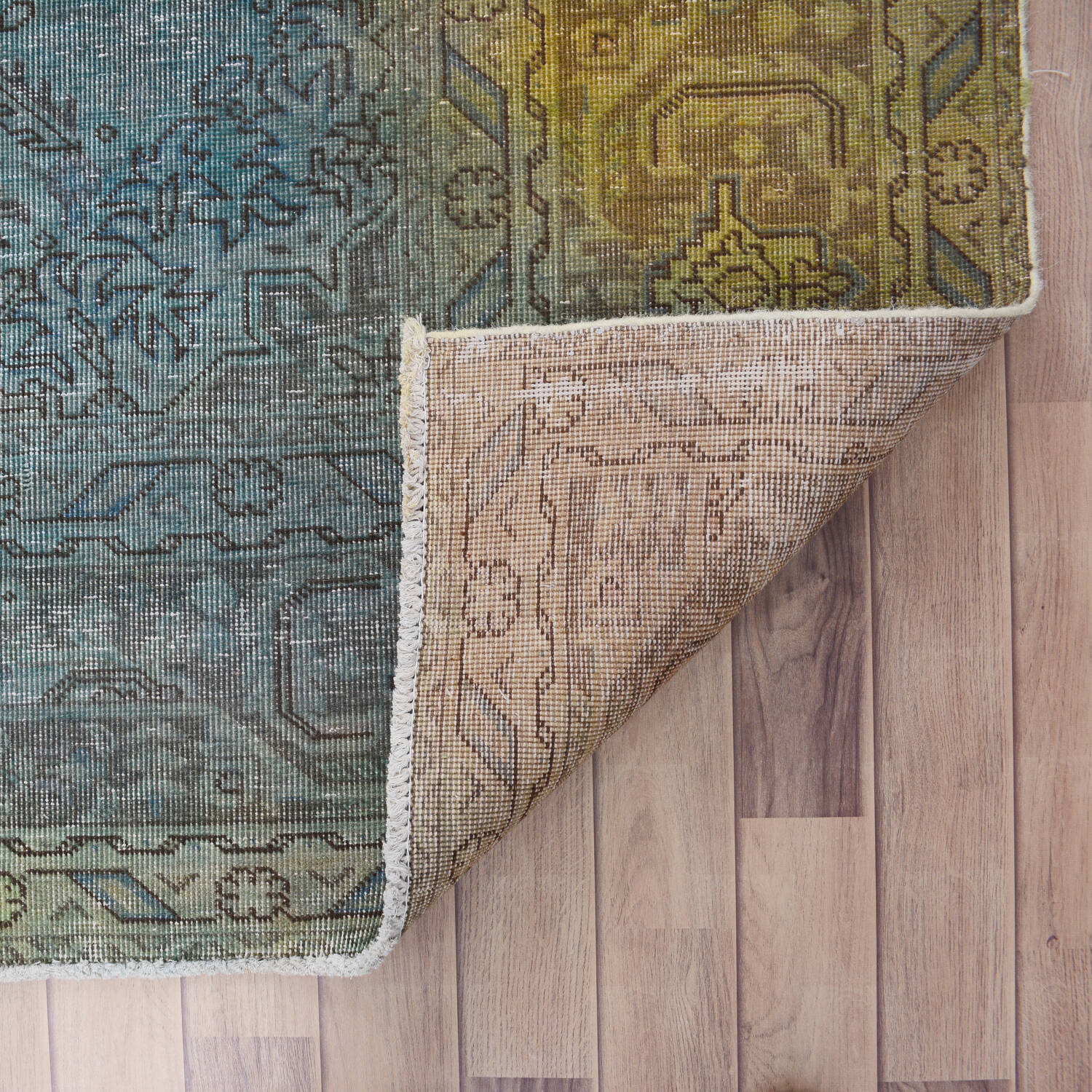 Antique Over Dyed Geometric Tabriz Persian Area Rug 10x13 image 7