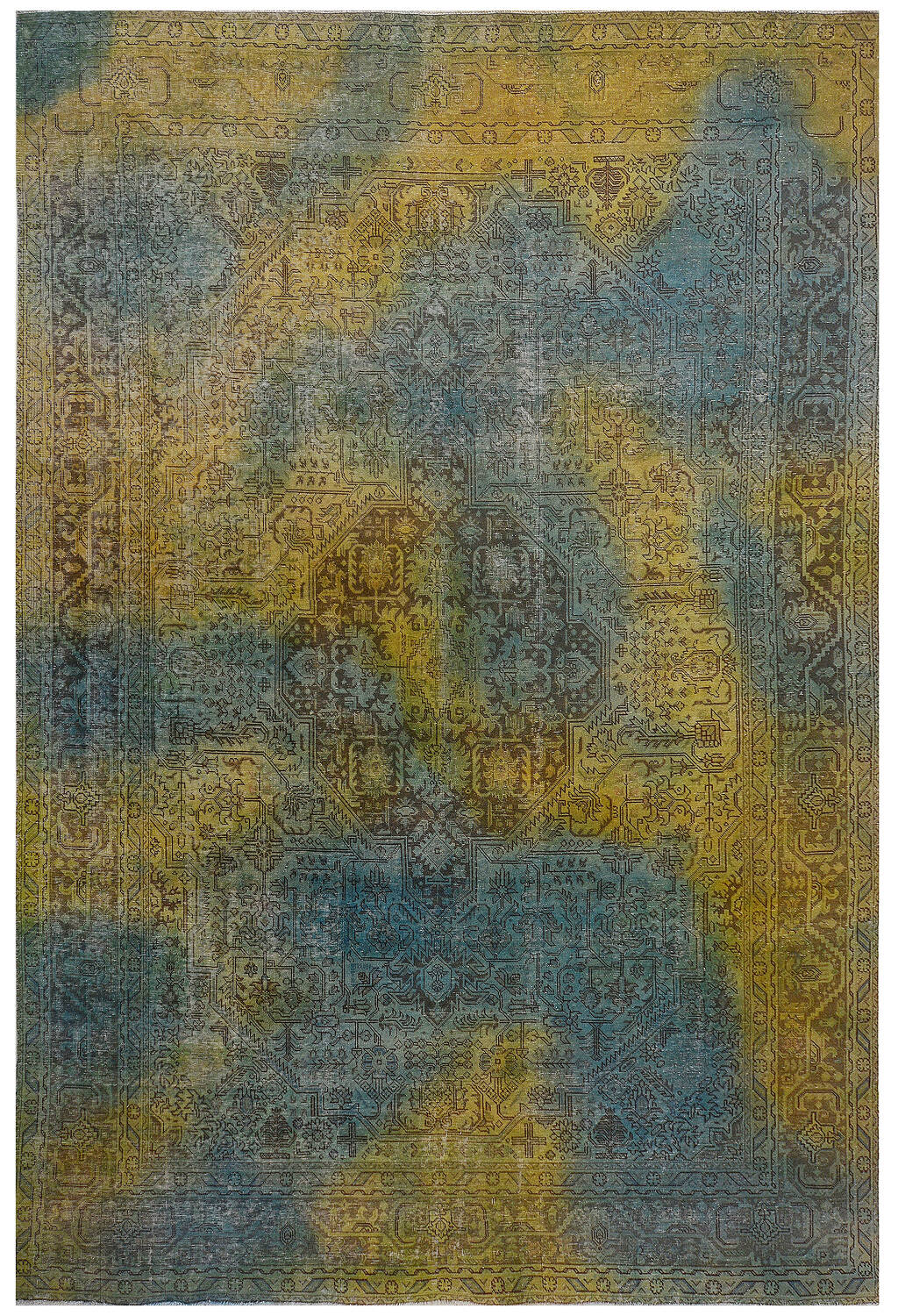 Antique Over Dyed Geometric Tabriz Persian Area Rug 10x13 image 1