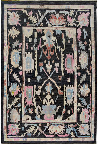 Geometric Vegetable Dye Oushak Turkish Area Rug 10x13