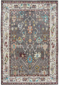 Geometric Vegetable Dye Oushak Turkish Area Rug 9x12